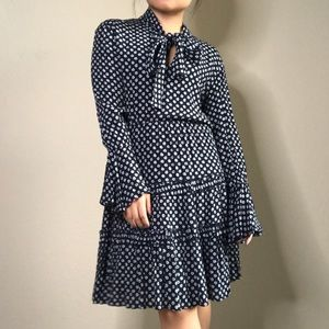 Tommy Hilfiger Floral Bell-sleeve Bow tie dress